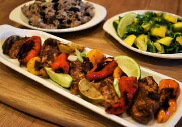 Caribbean jerk chicken with coconut rice