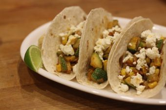 Courgette, Corn and Feta Tacos